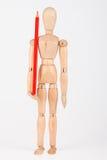 站立与颜色铅笔的小木时装模特隔绝在whi 库存图片