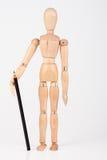 站立与颜色铅笔的小木时装模特隔绝在whi 免版税库存照片