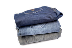 Which colour to choose. Different colored jeans to chose Royalty Free Stock Photography