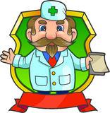 Which depicts a doctor emblem. Emblem which depicts funny doctor Stock Image