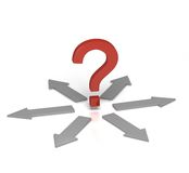 Which Direction?. 3D rendered image of a red Question Mark at a Crossroad with arrows pointing in different directions Royalty Free Stock Images