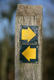 Which Direction. Sign post with yellow arrows Stock Photography