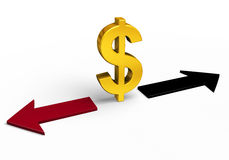 Which Direction Will The Dollar Go?. A bright, gold dollar sign stands between a red arrow pointing back towards losses and a black arrow pointing forward Royalty Free Stock Photo
