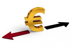 Which Direction Will The Euro Go?. A bright, gold Euro sign stands between a red arrow pointing back towards losses and a black arrow pointing forward towards Stock Image