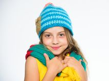 Which fabrics will keep you warmest this winter. Hat and scarf keep warm. Kid wear warm soft knitted blue hat and long. Scarf. Warm woolen accessories. Girl royalty free stock photos