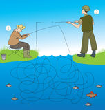 Which of the fishermen caught fish? Royalty Free Stock Photos