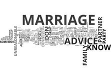 Which Marriage Advice Should You Listen To Word Cloud. WHICH MARRIAGE ADVICE SHOULD YOU LISTEN TO TEXT WORD CLOUD CONCEPT Stock Image