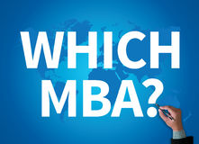 WHICH MBA?. Businessman work on white broad, top view Stock Photo