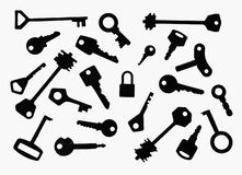 Which one?. Number of different keys and one padlock Stock Image