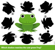 Which shadow matches the green cartoon frog Stock Photo