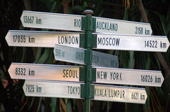 Which way?. Destination signs to several famous cities, photo taken in Australia Stock Photo