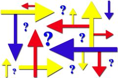 Which Way?. A conceptual background of confusion with arrows and question marks in primary colors Stock Photography