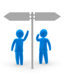 Which way?. Two blue persons looking and pointing on signpost. Concept of choosing and deciding Stock Images