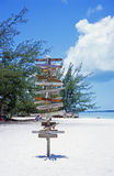 Which Way. Signs point to various world locations on Stocking Island in the Bahamas Stock Image