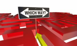 Which Way Choose Decide Path Maze. 3d Illustration Royalty Free Stock Images