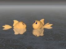 So, Which Way Is North?. Two goldfish in the ocean render Stock Image