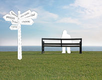 Which way now navigation directional sign Stock Image
