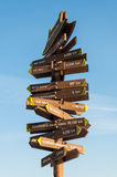 Which Way?. A sign post in Suwon, South Korea, points out the distances to capitals around the world Stock Images