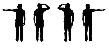 Which way?. Silhouettes of man showing directions and looking where to go Stock Images