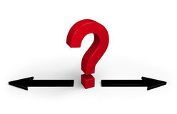 Which Way To Go?. A bright, red question mark stands between two black arrows pointing in opposite directions.   on white Royalty Free Stock Photos