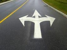 Which way to go? Three white arrow Royalty Free Stock Photo