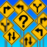 Which way. Uncertainty about which way to go in life and career vector illustration