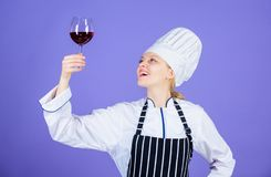 Which wine serve with dinner. Sommelier enjoy wine. Excellent taste. Sommelier skills. Serving wine at restaurant. Woman stock photography