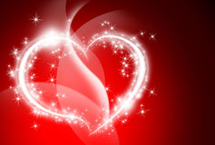 Shiny White light heart valentine red background bokeh light wallpaper Stock Images