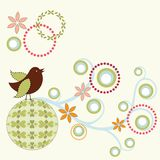 Whimiscal bird. With vine and design elements Stock Image