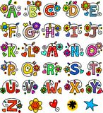Whimsical Alphabet Monograms. A set of 26 letters of the alphabet drawn in a whimsical cartoon doodle style Royalty Free Stock Photography