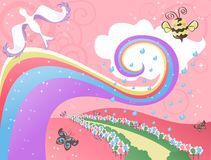 Whimsical Background. Illustration of a whimsical background with stripes, sparkles, and bird vector illustration