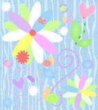 Whimsical Background. Illustration of a whimsical background with flowers, leaves, butterflies, and snails vector illustration