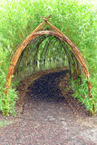 Whimsical Bamboo Tunnel in Children Amusement Park. Whimsical and magic live bamboo plant covered tunnel as secret hidden mystery pathway in an urban children Stock Photos