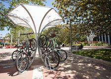 Whimsical bicycle station in Palo Alto, San Fransisco Bay aeria, USA. Contemporary construction for bicycle parking in Palo Alto, San Fransisco Bay aeria, USA royalty free stock photography