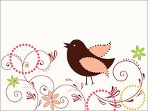 Whimsical Bird. Playful Whimsical Bird with coil foliage and flowers Stock Photos