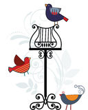 Whimsical birds with music stand. Colorful whimsical birds with vintage music stand and  flourish Royalty Free Stock Images