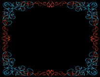 Whimsical Border, Black Background Royalty Free Stock Image