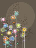 Whimsical bright flowers and swirls stock illustration