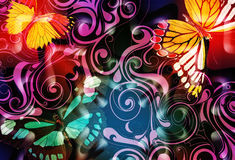 Whimsical butterfly scroll. Whimsical scroll design with bright, colorful jewel tone butterflies and illuminating highlights Stock Images