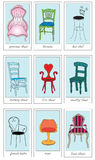Whimsical chair cards/chair icons Stock Photos