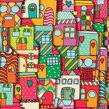 Whimsical childlike style houses. Seamless pattern Stock Photos