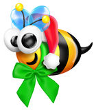 Whimsical Christmas Cartoon Bee Royalty Free Stock Images
