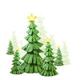 Whimsical christmas trees with snow
