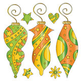 Whimsical colorful bauble and star collection vector illustration