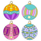 Whimsical, colorful Christmas bauble collection Stock Images