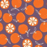 Whimsical colorful hand-drawn abstract doodle oranges vector seamless pattern on dark background royalty free illustration