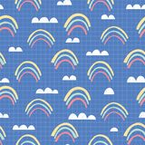 Whimsical Cut Out Rainbow Clouds on Squared Background Vector Seamless Pattern. Nursery Texture. School Notebook Paper royalty free illustration