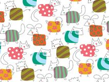 Whimsical cute farm animals vector illustration