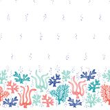 Whimsical Cute Hand-Drawn Sea Life, Corals, Seaweed, Algae Vector Seamless Border and Pattern. Bright Ocean Background stock illustration