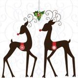 Whimsical Deer with Mistletoe stock illustration